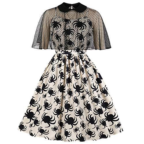 HZD Gothic Spider Print Frauen Kleid Summer Mesh Kurzarm Revers Pin Up Kleider Weiblich A Line Party Kleid,Apricot,XXL
