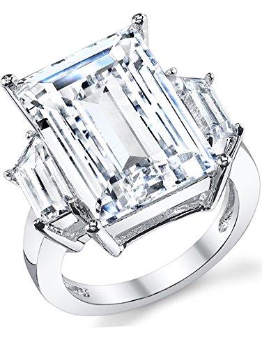 Kim Kardashian Sterling Silver Engagement Wedding Ring with Large Carat Emerald Cut Cubic Zirconia CZ 8