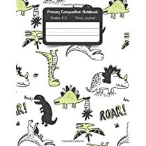 Primary K2 Composition Notebook: For Kids K-2 Grades Story Journal | Picture Space and Dashed Midline Dinosaur Pattern Cover