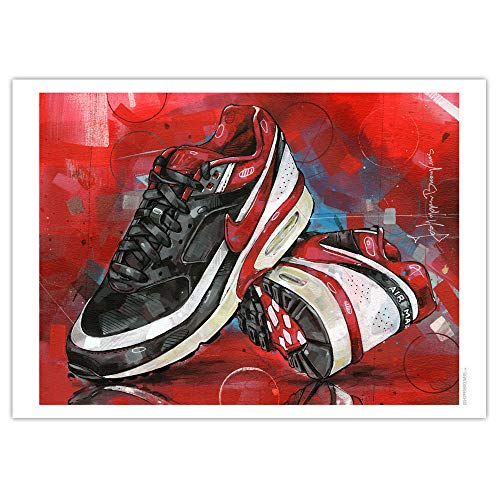 Nike Air Max Classic BW Varsity Red Art Print 02 (50 x 70 cm), sin marco