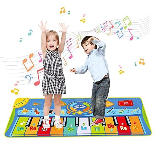 Upgrow Tanzmatte, Kinder Musikmatte, Klaviermatte mit 8 Instrumenten, Klaviertastatur Musik Playmat Spielzeug für Babys, Kinder, Mädchen und Junge 130x48 cm
