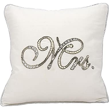 Kathy Ireland Worldwide E6318 White Decorative Pillow, 14  x 14