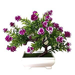 Vivid Artificial Flower Color Everlasting Fake Plants Plastic Potted Faux Flower Bonsai for Home Living Room Decoration Purple Red