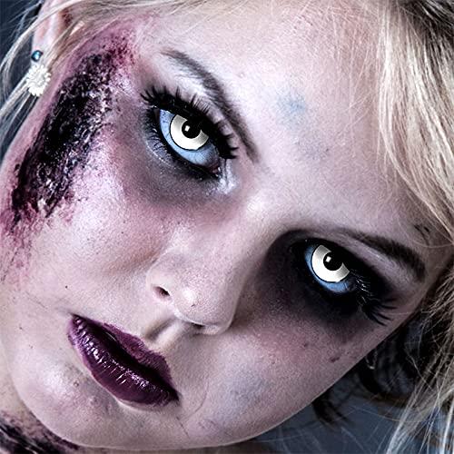 3-Monatslinsen WHITE MANSON, weiße Zombie Kontaktlinsen, Crazy Funlinsen, Halloween, Fastnacht, weiß - 8