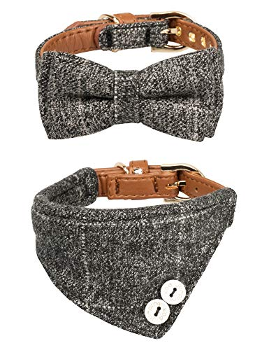 Gyapet Collar for Cat Small Dog Bandana Bowtie Puppy Kitten 2 Packs Adjustable Scarf Cute Camo Classic-Grey