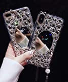 Oppo A3s Makeup Mirror Case Bling Glitter Shiny Crystal Full Diamonds Luxury Sparkle Transparent Rhinestone Protective Phone Case Cover Bumper for Girl Woman Lady (Clear, Oppo A3s)