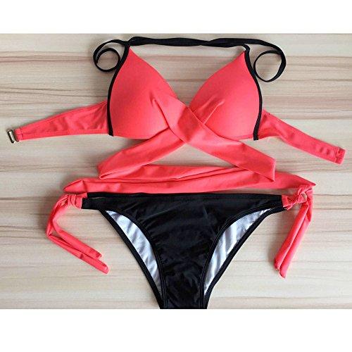 Andouy Damen Padded Push Up Bikini Set Halter Racerback Badeanzüge Zweiteilige Badeanzug Badebekleidung(S.Wassermelonenrot)