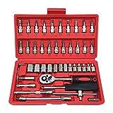 Juego de llaves de vaso,46 piezas,maletin herramientas profesional, juego llaves carraca,para el hogar, coche, moto(46PCS)