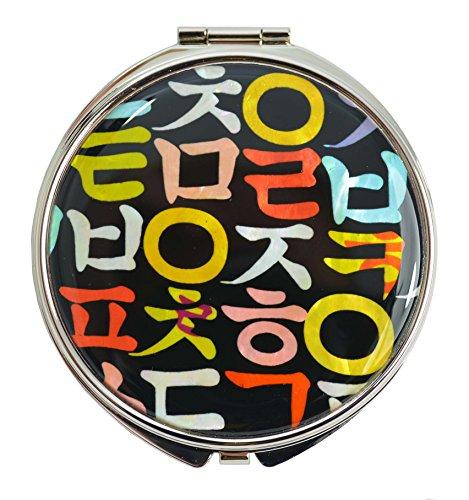 Miroir de poche alphabet Coréen. Rond en inox et résistant. Double miroir. Cadeau fille fan de Corée et Kpop