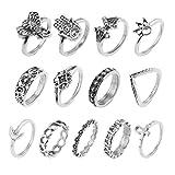 Amesii - Set di 13 anelli da falange in stile Boho, sovrapponibili tra loro, motivi: elefante, luna e fiori e Lega, 53 (16.9), colore: Silver, cod. AME