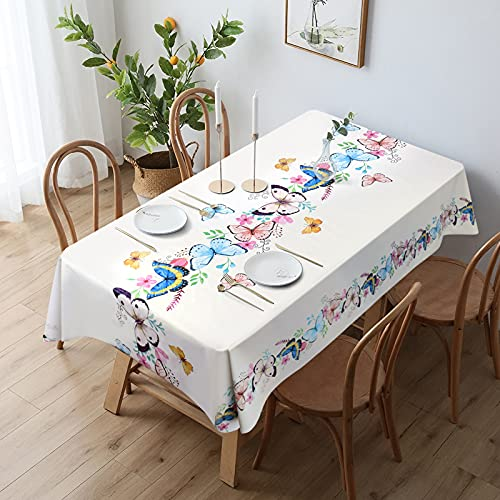 JATEF Waterproof Vinyl Tablecloth Rectangle, Oilproof Spillproof Heavy Duty Plastic Tablecloth, Wipeable PVC Table Cover for Dining Table Outdoor Camping and Patio, Butterfly, 55x78.7 inch