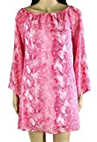 Love…Ady Women's Pink White Python Print Off-Shoulder Shift Dress SZ M New