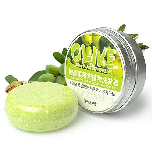 Shampooing Bar, Angmile Solide Bar Shampooing Savon Croissance des Cheveux Savon Bar pour la Perte de Cheveux Nettoyage Usine Essence Shampoo & Conditioner 100% Naturel Fait Main (Olives)