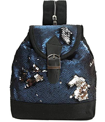 Caripe Mini Rucksack Glitzer Pailletten Damen Mädchen Rucksackhandtasche Schultertasche Tasche Wendepailletten - ranya2 (blau-Silber)