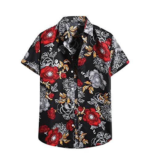 Camisa hawaiana para hombre, de verano, informal, con flores, manga corta, corte ajustado. D_negro. M