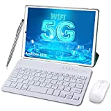 Android 10.0 Tablet 10 Inch 5G Dual WiFi Tablets with Keyboard 4GB RAM 64GB ROM 128GB Expand, Quad-Core 1.6GHz, Bluetooth, 6000mAh, Type-C, Google GMS Certified Tablet (Green)