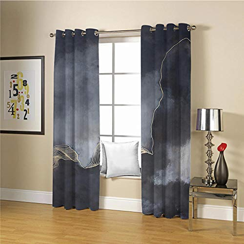 QHDIK Printed Kids Curtains 3D dark clouds eyelet curtains Childrens Finished Curtain Thermal Insulated Blackout Window Curtains For Bedroom Nursery 2x 30 x 65 inch(Width x Height)