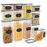 JIM'S STORE Recipientes para Cereales 12pcs,Botes Cocina para Almacenar...