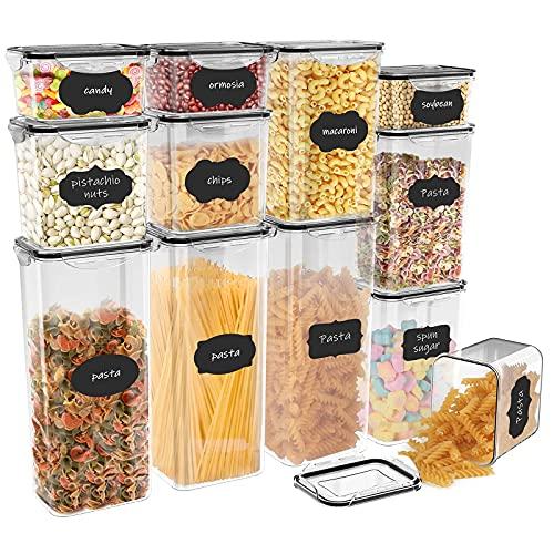 Jim's Store Contenitori Alimentari per Cereali Set 12 Pezzi, Contenitori Ermetici Alimentari Plastica Senza BPA con Coperchio per Alimenti, Utilizzato per la Conservazione di Pasta, Cereali, Muesli