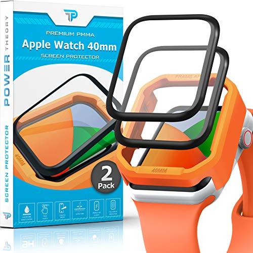Power Theory Bildschirmschutz für Apple Watch 40mm [2 Stück] - Panzerglasfolie mit Schablone, Panzerfolie, Panzerglas Folie, Schutzfolie, Bildschirmschutzfolie [KEIN Glas]