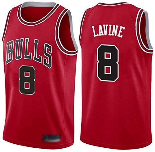 YZY Camiseta De La NBA De Los Hombres De Baloncesto, NBA Chicago Bulls # 8 Zach LaVine Jerseys, Transpirable Clásico Bordado Sin Mangas del Chaleco sobre El Tema,A,M(170~175CM/65~75KG)