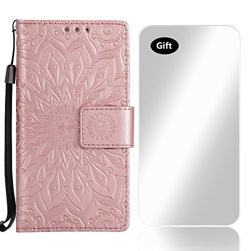 Galaxy A3 2015 Hülle, Bear Village® Leder PU Cover Magnet Filp Brieftasche Schutzhülle mit Kostenlos Schutzfilm aus Gehärtetem Glas für Samsung Galaxy A3 2015 (#8 Rose Gold)