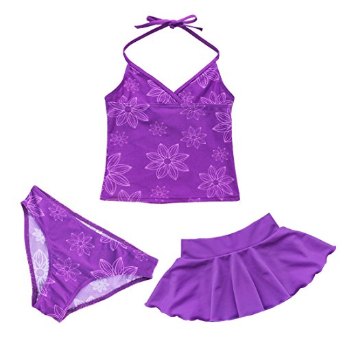YiZYiF Mädchen Bikini Badeanzug Schwimmanzug Tankini Set Badebekleidung Top + Rock mit Slips (104-110, 3tlg. Set mit Lila Rock), L
