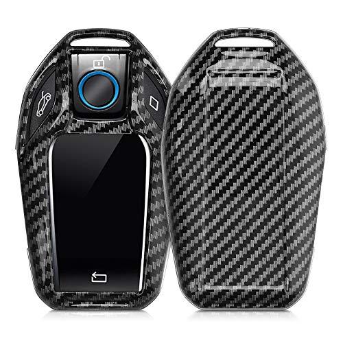 kwmobile Autoschlüssel Hülle kompatibel mit BMW Display Key Autoschlüssel - Hardcover Schutzhülle Schlüsselhülle Cover Carbon Schwarz