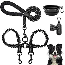 in budget affordable Tangle-free double leash-durable rope leash with shock-absorbing elastic lines, double …