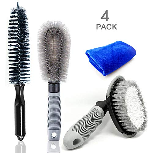 LJNH Auto Car Detailing Brush Set 6 Pieces Detail Brushes Cleaning Brushes Soft Hair Bristles Brush For Cleaning Wheels//Engine//Interior//Emblems//Interior//Exterior//Air Vents