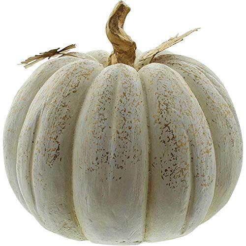 SIDCO Kürbis weiß Deko Halloween Herbst XXL Pumpkin Herbstdeko Figur Garten
