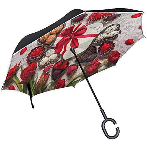 Omgekeerde paraplu chocolade tulp valentijn omgekeerde paraplu omkeerbaar voor golf auto reizen regen outdoor zwart