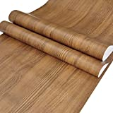 Lependor 17.71' X 118' Light Brown Wood Peel and Stick Wallpaper Wood Grain Printed Stick Wall Paper Self Adhesive Film Removable Textured Wood Panel Decorative Wall Covering - 17.71' X 9.8 ft