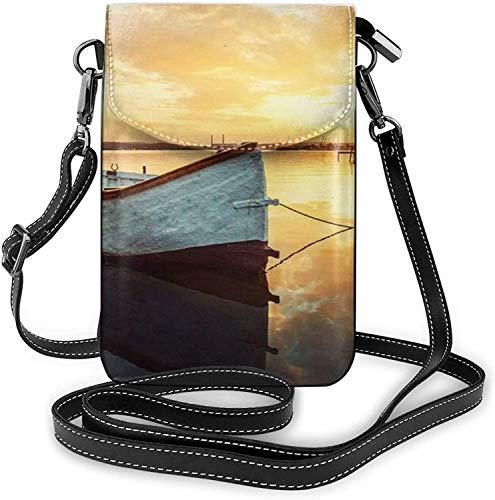 Bolso de la moda del teléfono celular pequeño barco en el agua pequeño Crossbody bolsos de las mujeres chica pu bolso de hombro bolso