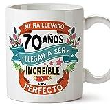 MUGFFINS Taza 70 Cumpleaños -Me ha llevado 70 años llegar a ser increíble y casi perfecto - Regalos Desayuno Feliz Cumpleaños