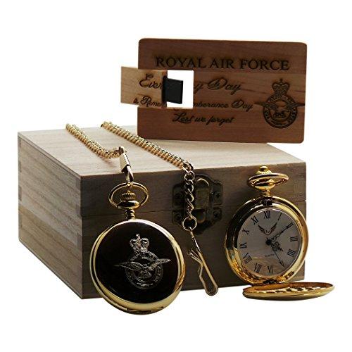 Goldene Taschenuhr mit USB-Speicherkarte aus Holz, luxuriös, graviert / verziert, Royal Air Force / militärisch