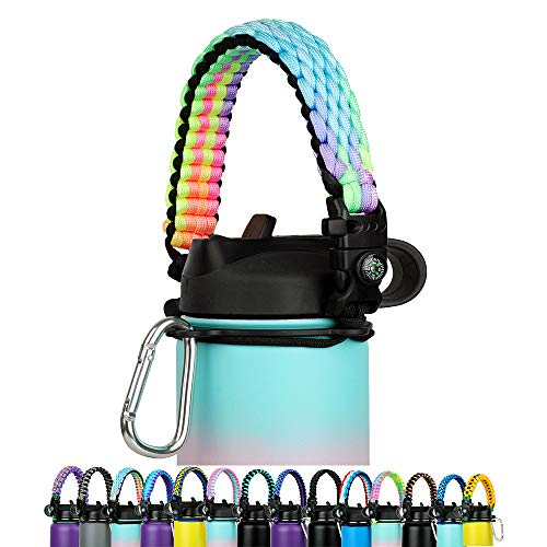 Paracord Handle - Fits Wide Mouth Bottles 12oz to 64oz - Durable Carrier, Paracord Carrier Strap Cord with Safety Ring,Compass and Carabiner - Ideal Water Bottle Handle Strap (Hawaiian Rainbow)