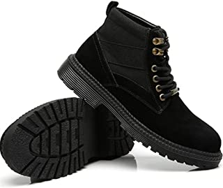 2019 Men Boots Mens Fashion Ankle Boots for Men Casual Classic Combat Boot with Metal Decoration Lace Up Leather Flat Heel Wear Resistant Round Toe Comfortable