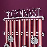 Soporte para colgar medallas de gimnasia, doble riel, con palabra en inglés 'Gymnast'