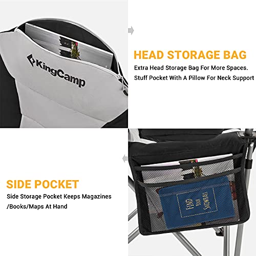 KingCamp Camping Chair Lawn Chair Folding Camping Chair for Adults Folding Camp Chair with Lumbar Support+Adjustable Armrest+Cooler Bag Cup Holder,Side+Head Pocket,for Picnic, Camp,Fishing,Max 353lbs