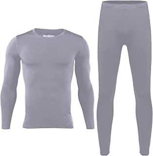 Men Thermal Underwear Set Winter Skiing Warm Top & Bottom Thermal Long Johns Black