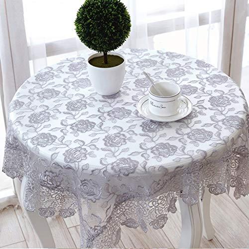 Gris brodé nappe de dentelle rectangle carré translucide motifs floraux Table Cover pour Home Decor, fêtes d'anniversaire, réceptions de mariage, tables de salle à manger (taille : 150 * 150cm)