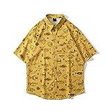 CIDCIJN Camisa Hawaiana para Hombre - Hombres Dibujos Animados Pescado Impreso Hawaiian Beach Camisa Casual Camisa Salvaje Blusa Hombres Botón Flexible Transpirable Rápido Seco Shir, Amarillo, XXL
