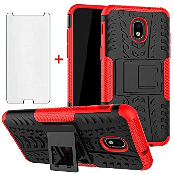 Phone Case for Samsung Galaxy J3 Orbit J 3 Star 2018 3J Achieve with Tempered Glass Screen Protector Cover Stand Hard Rugged Cell Accessories Glaxay J3V V 3rd Gen SM J337A J337V J337 Cases Black Red