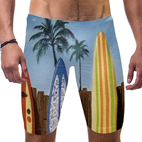 LORVIES Beach Surfboard met palmbomen mannen zwemmen Shorts Surf Zwembroek Zwempak Snelle Droge Zwemkleding, S