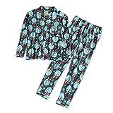 HIUGHJ Pijamas 100% Ropa de Dormir de algodón Pijama Conjunto Ropa para el hogar Otoño Lindo de Dibujos Animados Imprimir Pijamas Casuales para Mujeres Ropa de Dormir