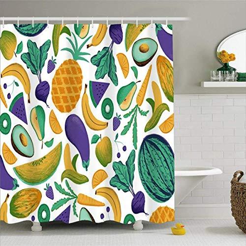 N / A Vorhang für Bad Home Badezimmer Display Obst Gemüse Duschvorhang-B150xH180cm