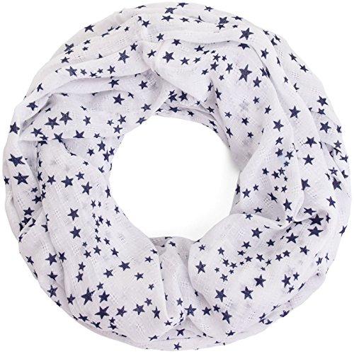Compagno Damen Loopschal Stars & Stars weicher und leichter Schal Loop mit Sternen, SCHAL Farbe:Weiß
