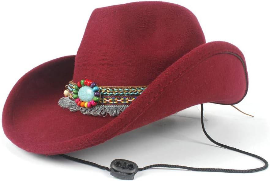 HHHCM-US Fashion Women Wool Hollow Ta Elegant Cowboy Hat Western Animer and 5 ☆ very popular price revision