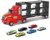 BCLGCF Transport Car Carrier Truck - Hauler Truck Incluye 6 Coches De Juguete Y Accesorios - para Niños Y Niñas De 3 A 10 Años De Edad - Regalo Ideal para Niños